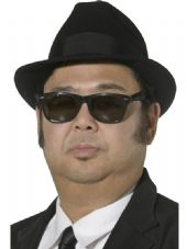 1950's Blues Brothers Black Felt Fedora Hat